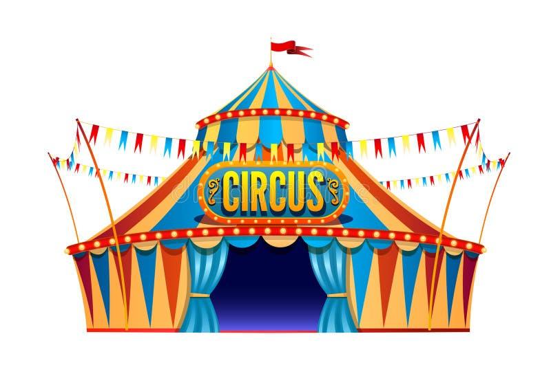Κλασική κόκκινη κίτρινη σκηνή τσίρκων ταξιδιού στο διαφανές υπόβαθρο με τη διακοσμητική πινακίδα, που διακοσμείται με τις σημαίες απεικόνιση αποθεμάτων