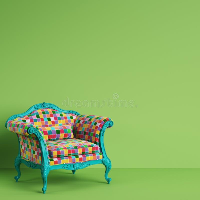 Κλασική μπαρόκ πολυθρόνα στο ζωηρόχρωμο λαϊκό ύφος τέχνης στο πράσινο υπόβαθρο με το διάστημα αντιγράφων απεικόνιση αποθεμάτων