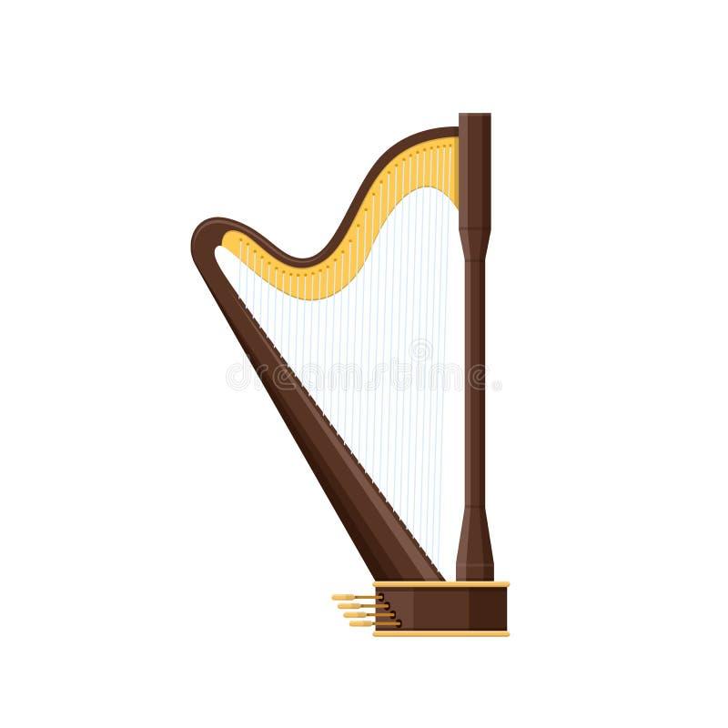 Κλασική παλαιά ξύλινη άρπα, παραδοσιακό ιστορικό μουσικό όργανο σειράς ελεύθερη απεικόνιση δικαιώματος