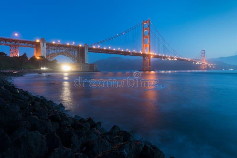 Κλασική πανοραμική άποψη της διάσημης χρυσής γέφυρας πυλών που βλέπει από το λιμάνι του Σαν Φρανσίσκο στο όμορφο φως βραδιού σε έ στοκ εικόνα με δικαίωμα ελεύθερης χρήσης