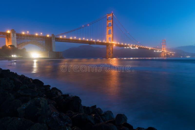 Κλασική πανοραμική άποψη της διάσημης χρυσής γέφυρας πυλών που βλέπει από το λιμάνι του Σαν Φρανσίσκο στο όμορφο φως βραδιού σε έ στοκ φωτογραφία με δικαίωμα ελεύθερης χρήσης