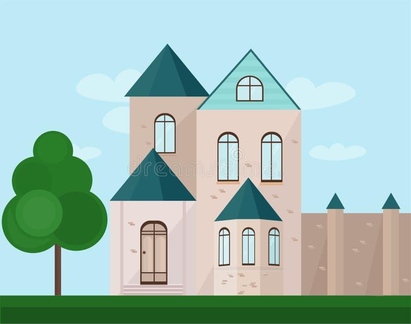 Κλασική πρόσοψη αρχιτεκτονικής ενός κάστρου η ανασκόπηση ανθίζει το φρέσκο διάνυσμα γάλακτος φύλλων απεικόνισης διανυσματική απεικόνιση