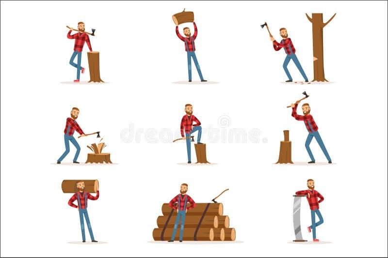 Κλασικός αμερικανικός υλοτόμος στο ελεγμένο κόβοντας εργασίας πουκάμισων και τεμαχίζοντας ξύλο με τον μπαλτά και ένα πριόνι απεικόνιση αποθεμάτων