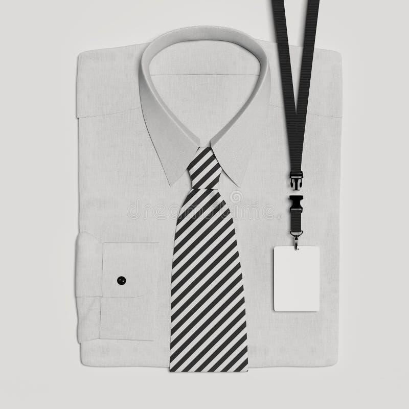 Κλασικός επίσημος δεσμός πουκάμισων και τόξων με το κενά κορδόνι και το διακριτικό τρισδιάστατη απόδοση απεικόνιση αποθεμάτων