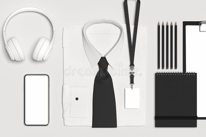 Κλασικός επίσημος δεσμός πουκάμισων και τόξων με το κενό κορδόνι, διακριτικό τρισδιάστατη απόδοση διανυσματική απεικόνιση