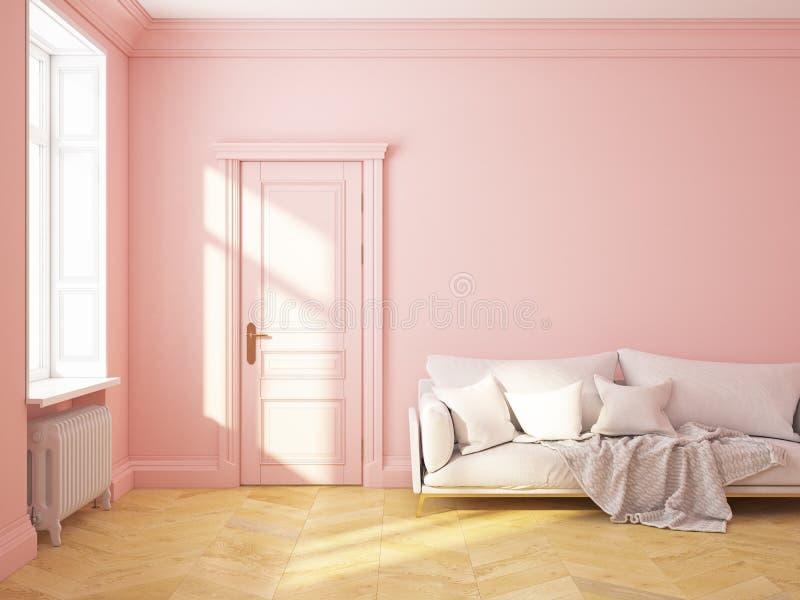 Κλασικός εσωτερικός ρόδινος καναπές χαλαζία roze απεικόνιση αποθεμάτων