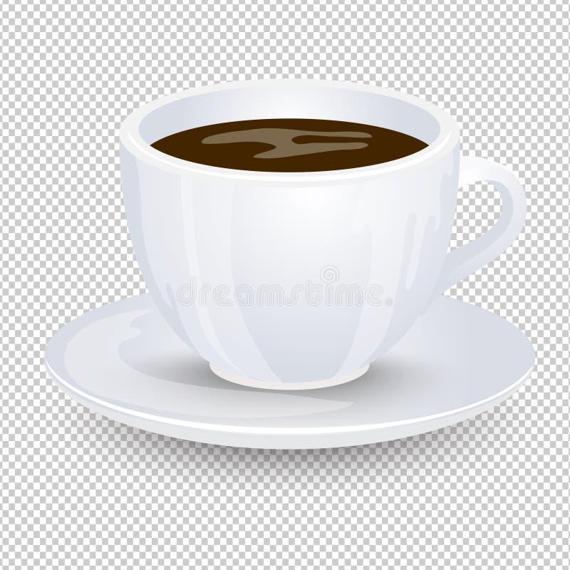 Κλασικός μαύρος καφές σε ένα άσπρο φλυτζάνι με ένα πιατάκι που απομονώνεται σε ένα διαφανές υπόβαθρο Αγαπημένο ποτό πρωινού Διανυ διανυσματική απεικόνιση