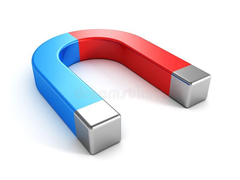 Κλασικός μπλε και κόκκινος πεταλοειδής μαγνήτης απεικόνιση αποθεμάτων