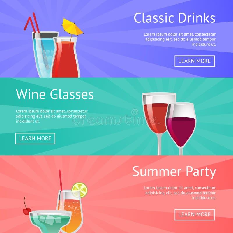 Κλασικός πίνει το οινόπνευμα θερινού κόμματος γυαλιού κρασιού διανυσματική απεικόνιση