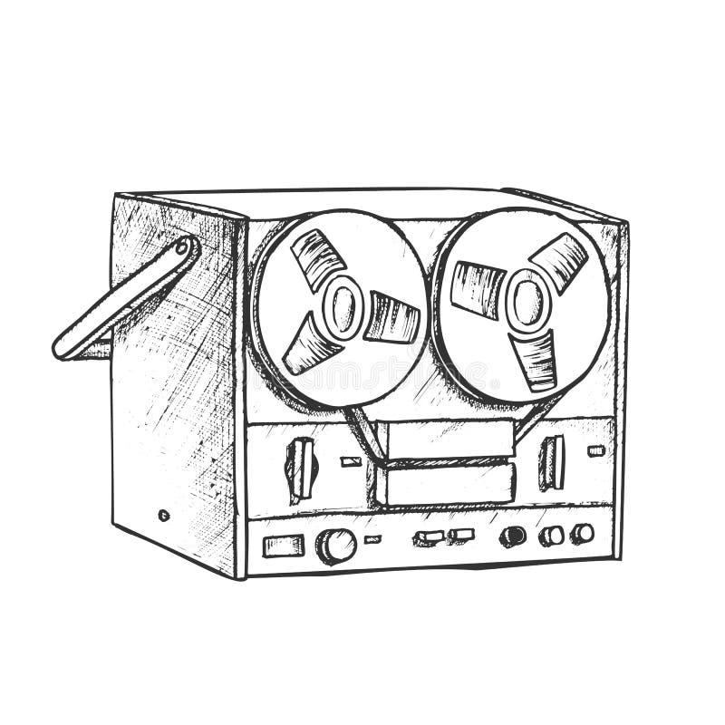 Κλασικός Παίκτης Μπουλόνια Για Την Ακρόαση Διανύσματος Μελανιού Μουσικής απεικόνιση αποθεμάτων