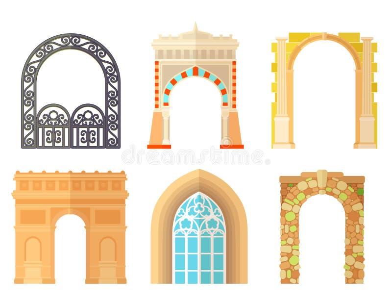 Κλασικός πλαισίων κατασκευής αρχιτεκτονικής σχεδίου αψίδων, πρόσοψη πορτών πυλών δομών στηλών και οικοδόμηση πυλών αρχαίοι απεικόνιση αποθεμάτων