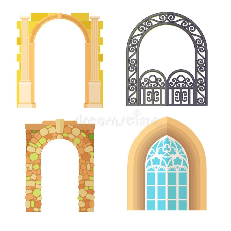 Κλασικός πλαισίων κατασκευής αρχιτεκτονικής σχεδίου αψίδων, πρόσοψη πορτών πυλών δομών στηλών και οικοδόμηση πυλών αρχαίοι διανυσματική απεικόνιση