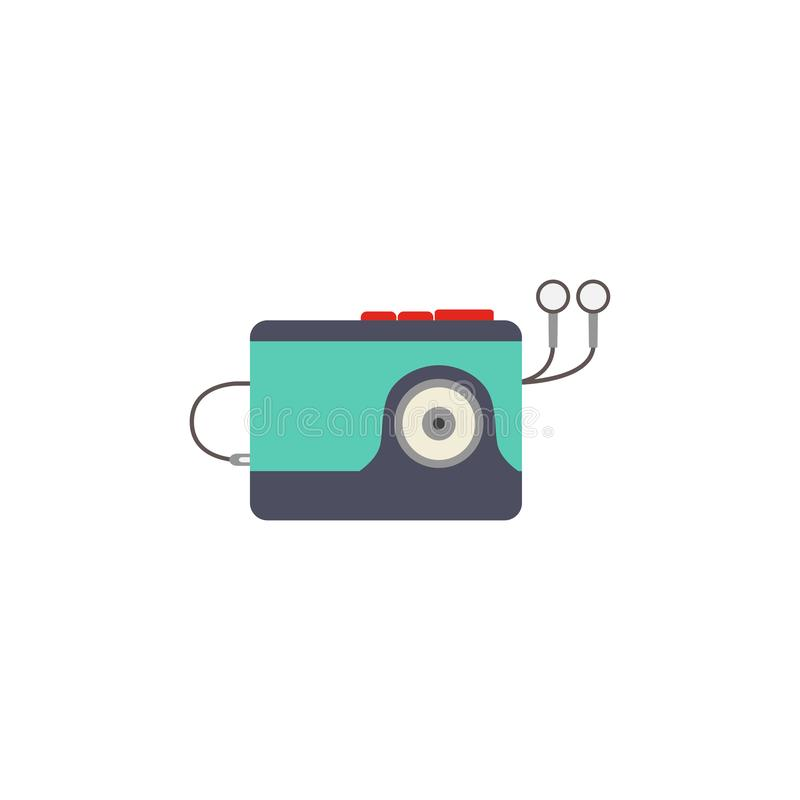 Κλασικό αναδρομικό φορητό κασετόφωνο κασετών με τα συνημμένα ακουστικά Άσπρη ανασκόπηση επίσης corel σύρετε το διάνυσμα απεικόνισ διανυσματική απεικόνιση
