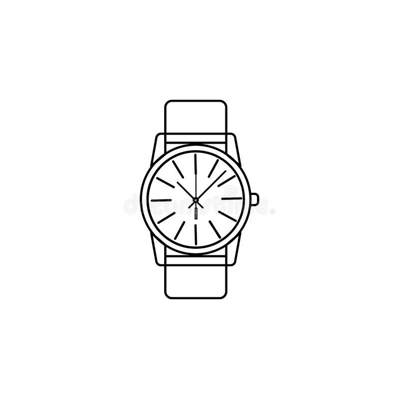 Κλασικό αναλογικό εικονίδιο γραμμών Wristwatch ατόμων τα δίκρανα σχεδίου ρολογιών καφέδων φυλλάδιων διαμορφώνουν τα κουτάλια εικο στοκ εικόνα με δικαίωμα ελεύθερης χρήσης