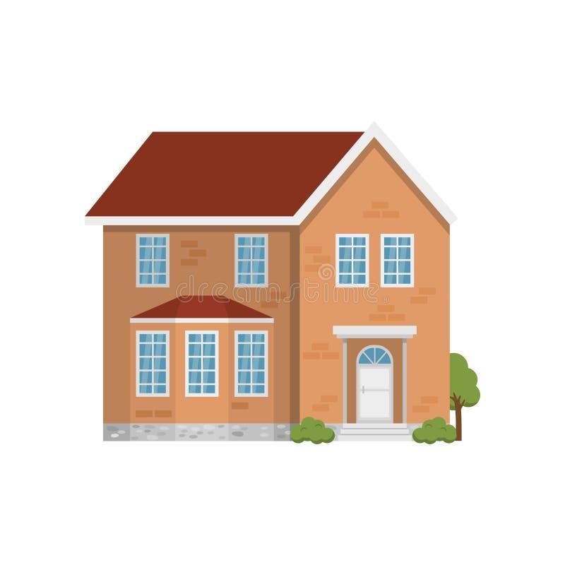 Κλασικό διώροφο τούβλινο σπίτι που απομονώνεται στο άσπρο υπόβαθρο διανυσματική απεικόνιση