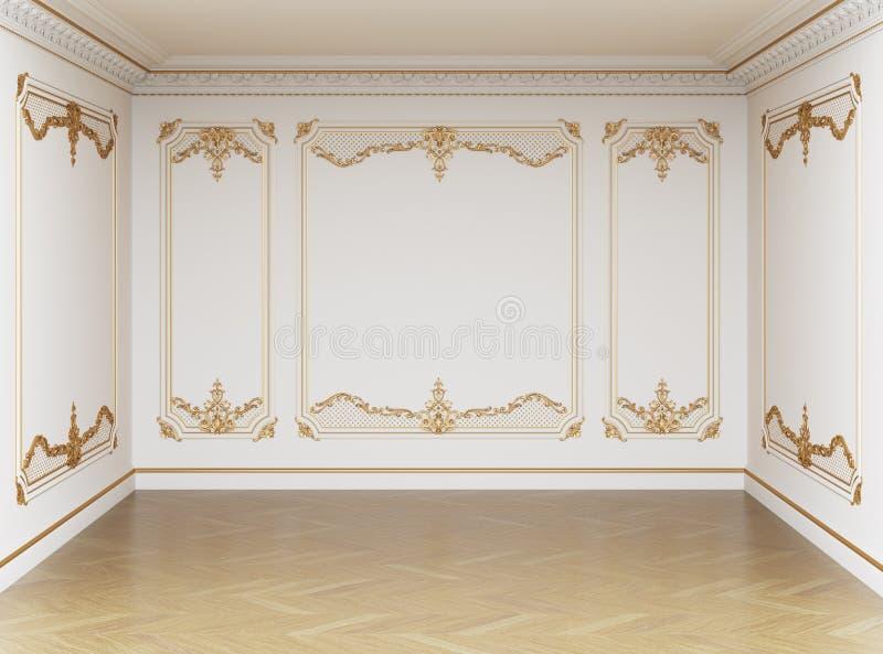 Κλασικό εσωτερικό κενό δωμάτιο Οι τοίχοι με τα σχήματα και το γείσο απεικόνιση αποθεμάτων