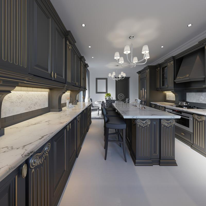 Κλασικό εσωτερικό κουζινών και τραπεζαρίας ύφους στα γραπτά χρώματα διανυσματική απεικόνιση