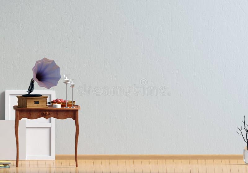 Κλασικό εσωτερικό με τον πίνακα και gramophone χλεύη τοίχων επάνω τρισδιάστατος άρρωστος ελεύθερη απεικόνιση δικαιώματος