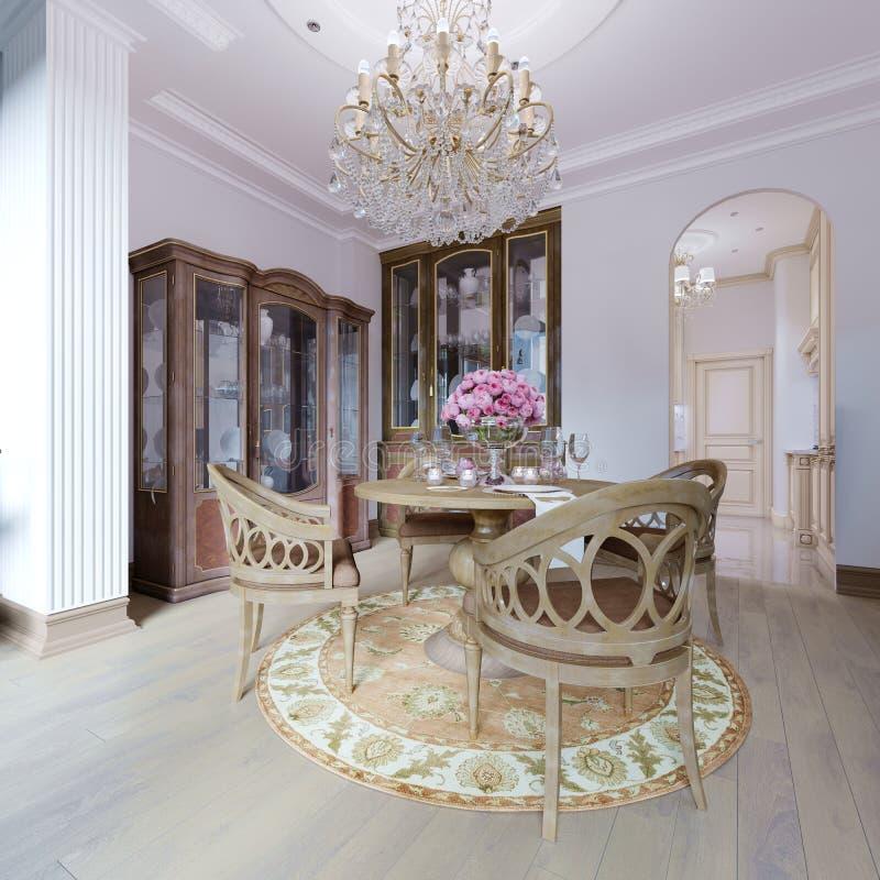 Κλασικό εσωτερικό πολυτέλειας της τραπεζαρίας, της κουζίνας και του καθιστικού με τα καφετιούς έπιπλα και τους πολυελαίους κρυστά διανυσματική απεικόνιση