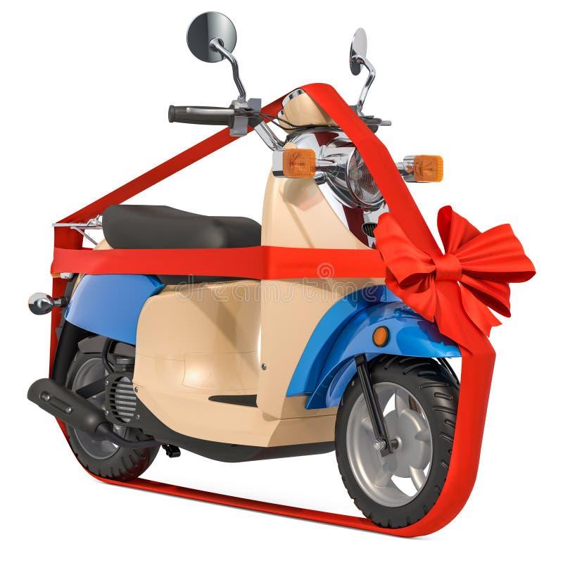 Κλασικό μηχανικό δίκυκλο ή ηλεκτρικό μοτοποδήλατο με την κορδέλλα και το τόξο, έννοια δώρων r απεικόνιση αποθεμάτων