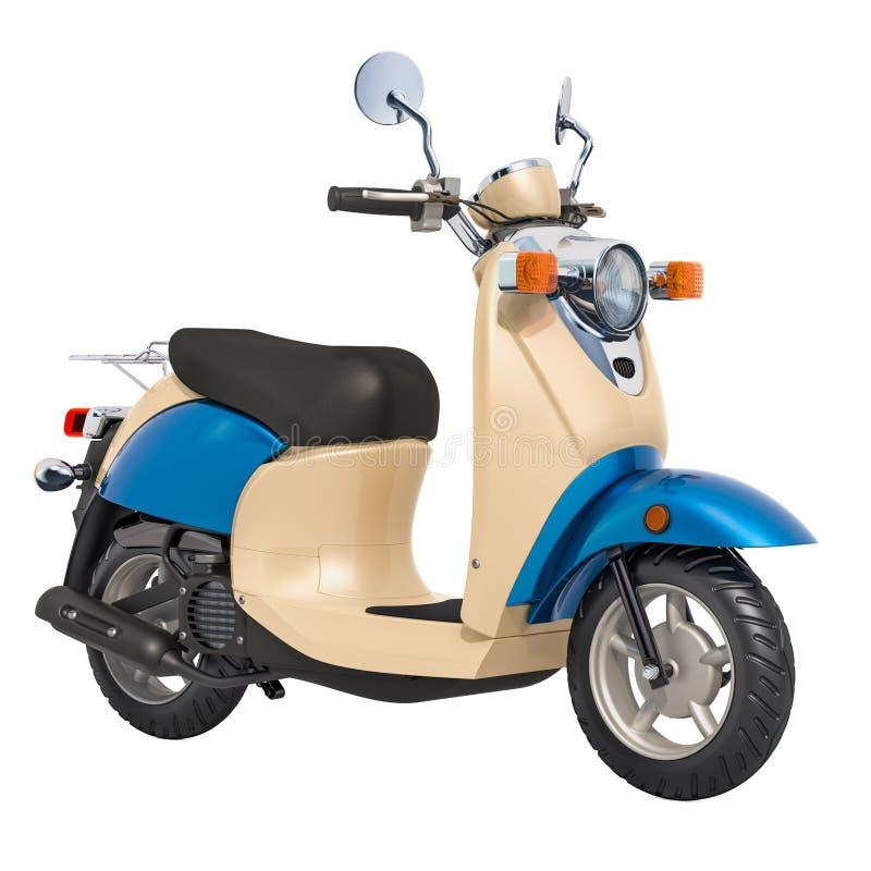 Κλασικό μηχανικό δίκυκλο ή ηλεκτρικό μοτοποδήλατο, τρισδιάστατη απόδοση διανυσματική απεικόνιση