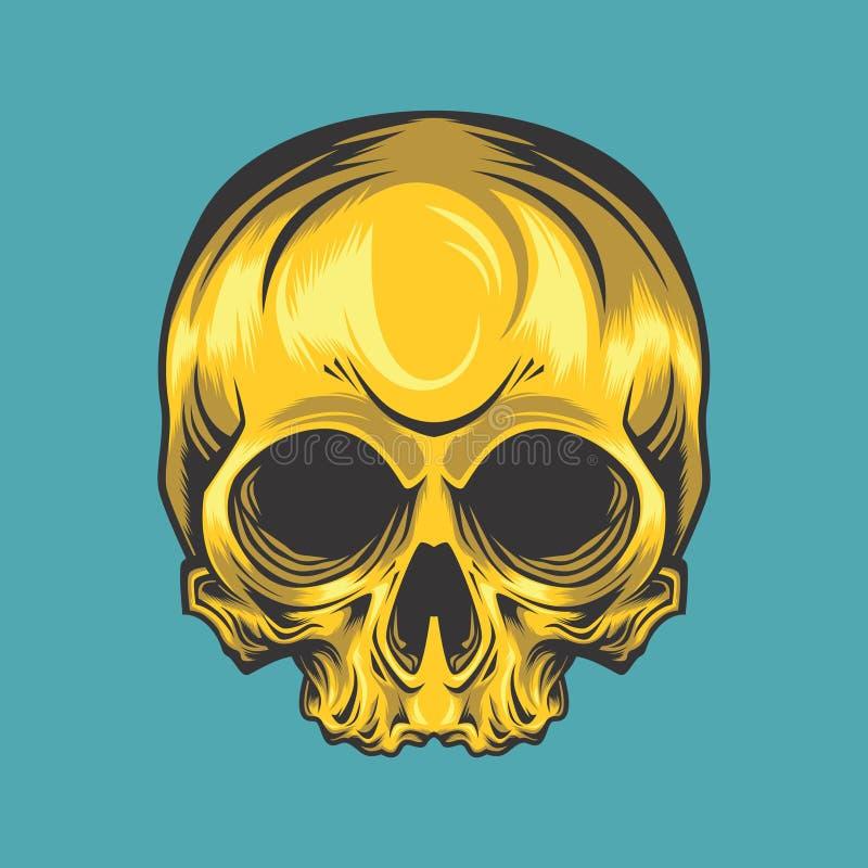Κλασικό χρυσό κρανίο διανυσματική απεικόνιση