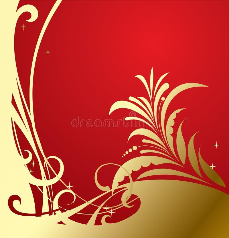 κλασικό χρυσό κόκκινο ανασκόπησης ελεύθερη απεικόνιση δικαιώματος