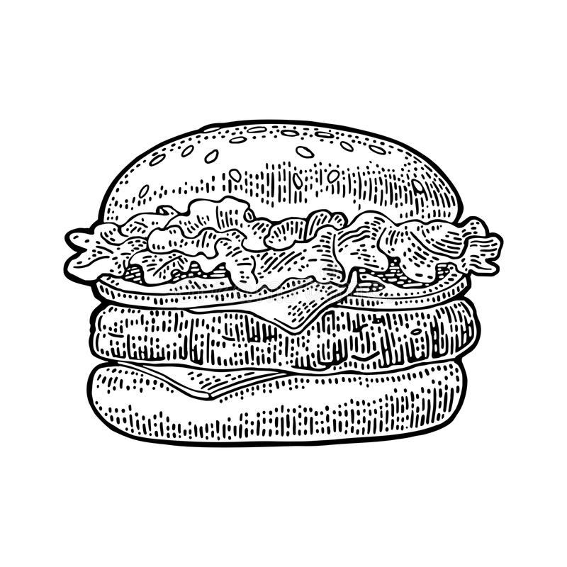 Κλασικό burger περιλαμβάνει cutlet, ντομάτα, αγγούρι, σαλάτα Διανυσματική εκλεκτής ποιότητας χάραξη διανυσματική απεικόνιση