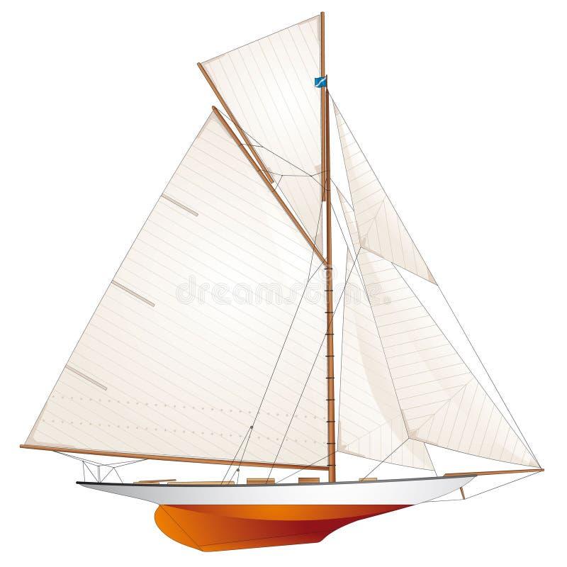 κλασικό sailboat αγώνα γιοτ διανυσματική απεικόνιση