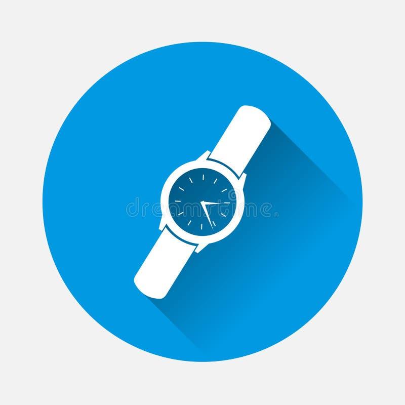 Κλασικό wristwatch ατόμων ` s στο μπλε υπόβαθρο Επίπεδο ρολόι W εικόνας ελεύθερη απεικόνιση δικαιώματος