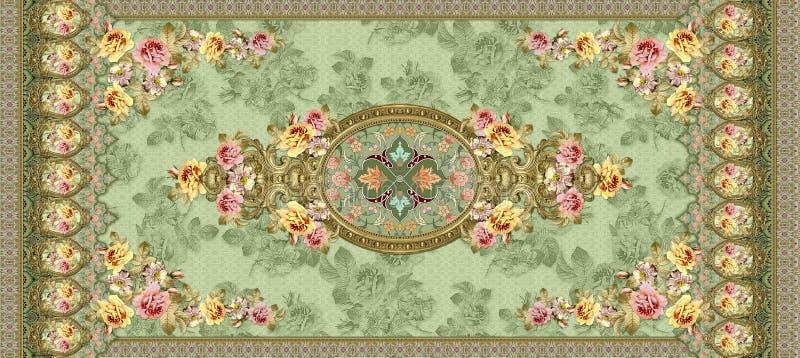 Κλασσική διακόσμηση λουλουδιών με το πράσινο υπόβαθρο σύστασης διανυσματική απεικόνιση