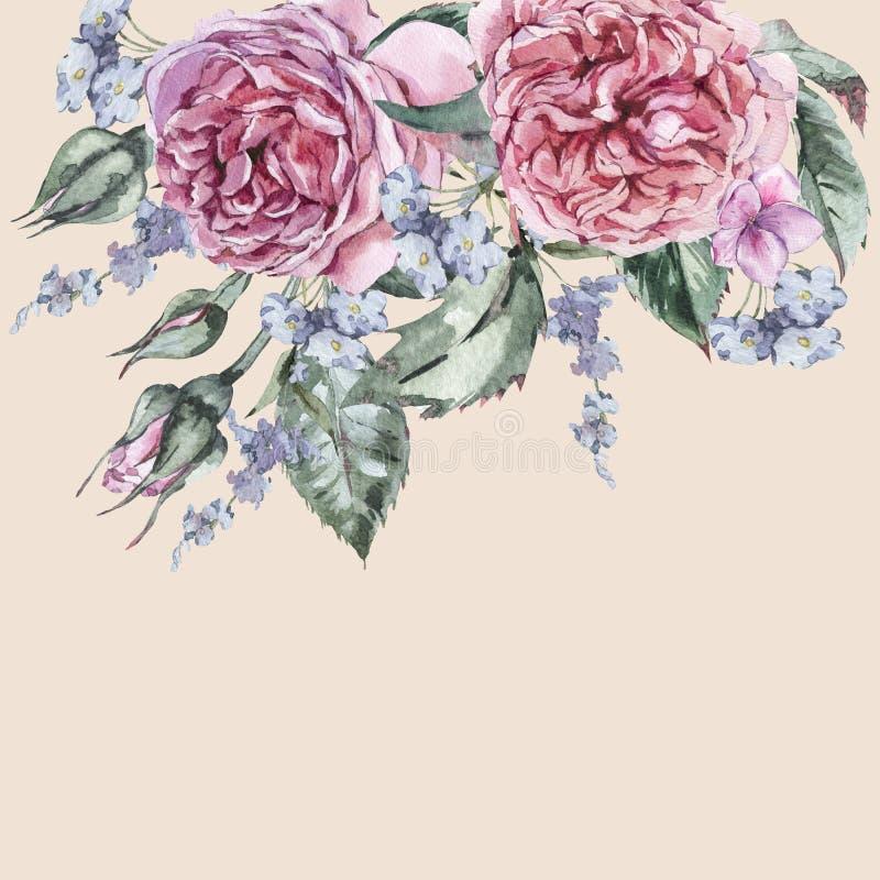 Κλασσική εκλεκτής ποιότητας Floral ευχετήρια κάρτα Watercolor, Watercolor BO ελεύθερη απεικόνιση δικαιώματος