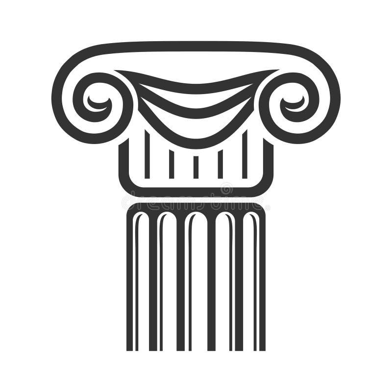 Κλασσική παλαιά στήλη αρχιτεκτονικής, διακόσμηση πετρών και σχέδιο διανυσματική απεικόνιση