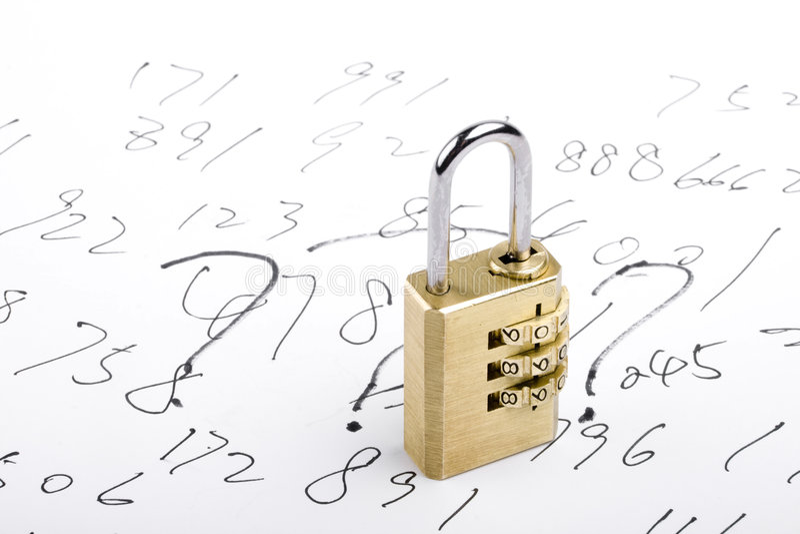 Κλείδωμα συνδυασμού και αριθμοί στοκ φωτογραφία