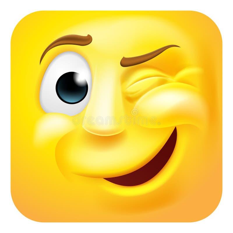 Κλείνοντας το μάτι χαρακτήρας κινουμένων σχεδίων εικονιδίων Emoji Emoticon τρισδιάστατος απεικόνιση αποθεμάτων