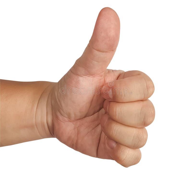 Κλείσιμο του αρσενικού χεριού που δείχνει το σύμβολο επιδοκιμασίας στο λευκό φόντο απομονωμένο στοκ φωτογραφία