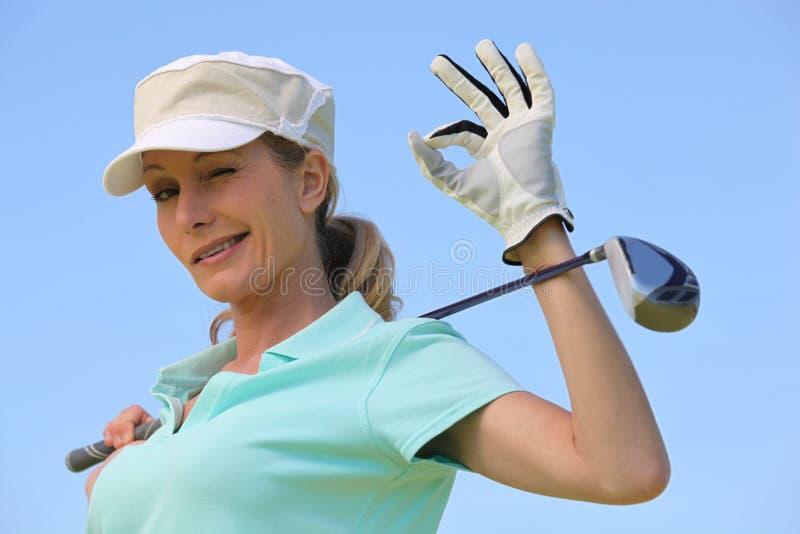 Κλείσιμο του ματιού παικτών γκολφ στοκ εικόνες