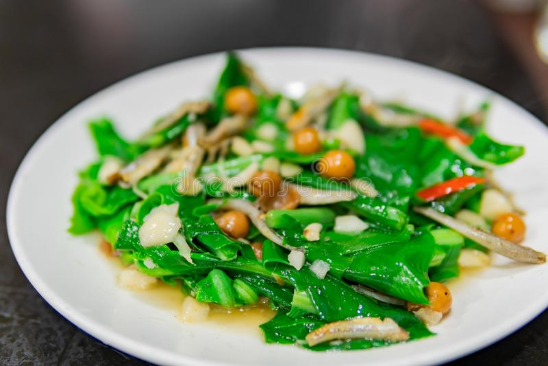 Κλείστε αυξημένος ενός πιάτου του τηγανισμένου λαχανικού φτερών φωλιών στοκ εικόνες