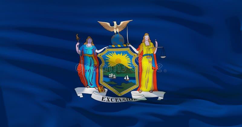 Κλείστε αυξημένος της κυματιστής κρατικής σημαίας της Νέας Υόρκης διανυσματική απεικόνιση