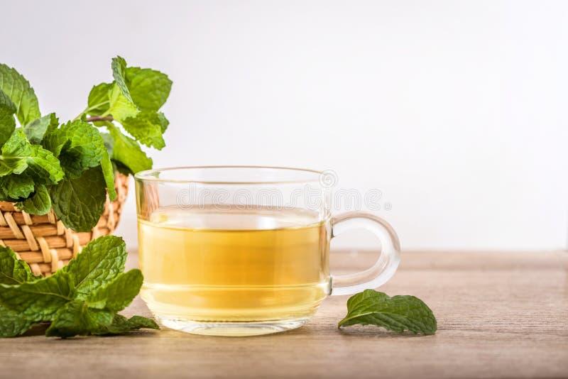 Κλείστε επάνω ένα φλυτζάνι γυαλιού του τσαγιού μεντών με τα πράσινα φρέσκα peppermint φύλλα, τη χαλάρωση και το υγιές ποτό στοκ φωτογραφίες με δικαίωμα ελεύθερης χρήσης