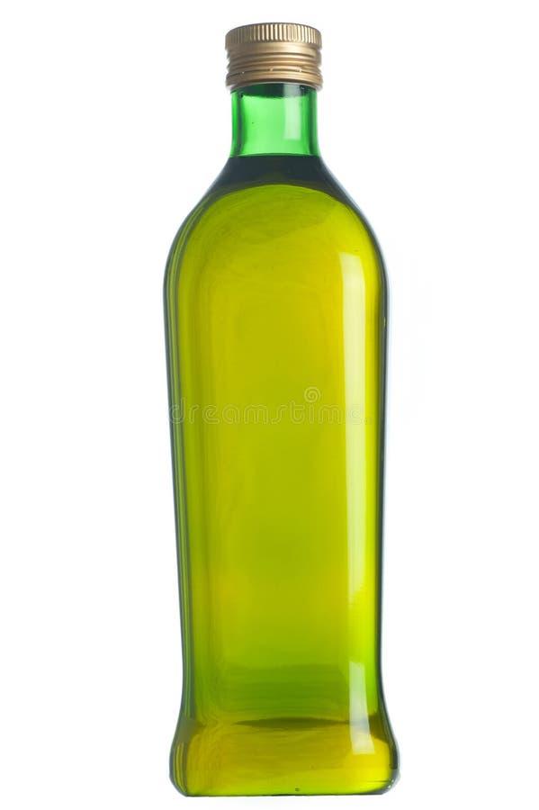 Κλείστε επάνω ενός μπουκαλιού ελαιολάδου που απομονώνεται στο λευκό. στοκ φωτογραφίες
