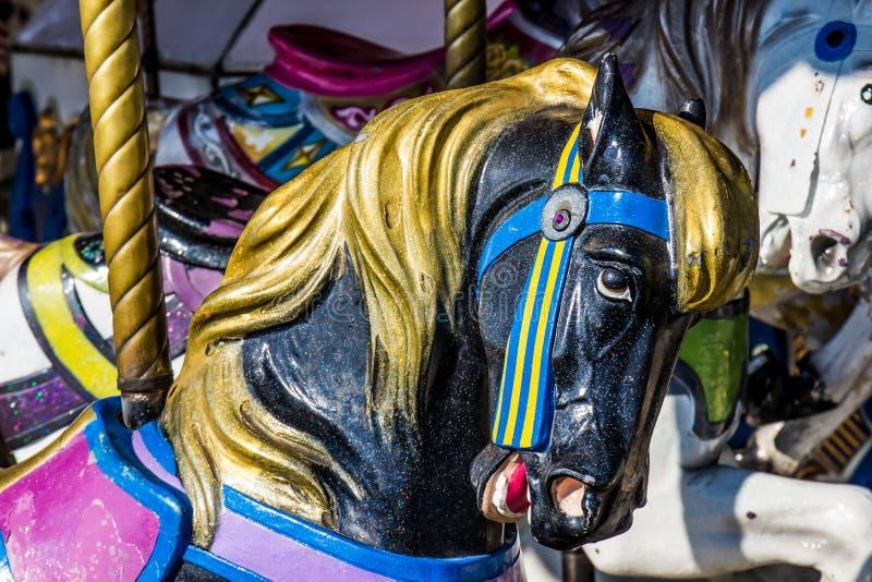 Κλείστε επάνω εύθυμου πηγαίνει γύρω από το άλογο στοκ φωτογραφία