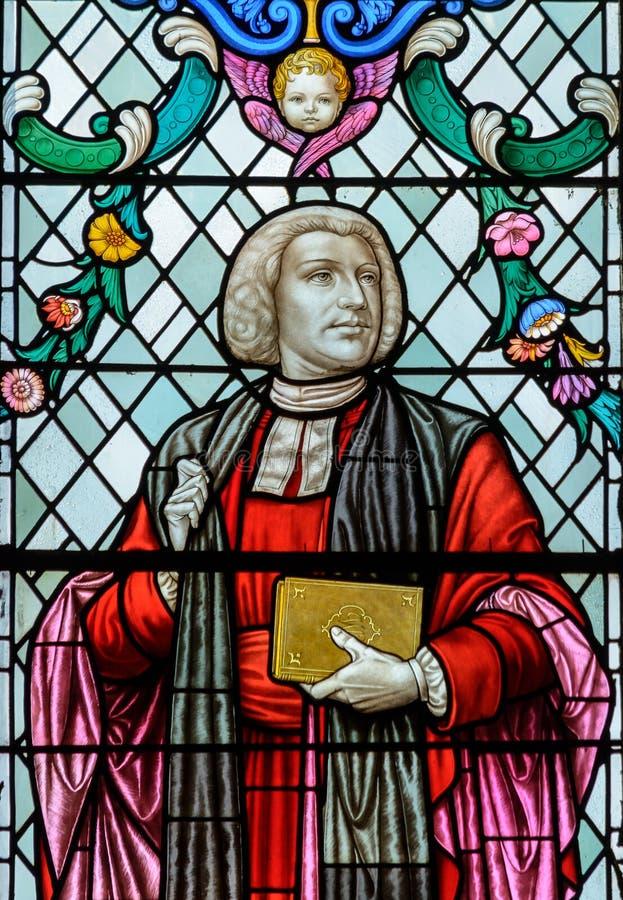 Κλείστε επάνω λεκιασμένου παραθύρου γυαλιού του William του Paley στο Λίνκολν Cathed στοκ φωτογραφίες