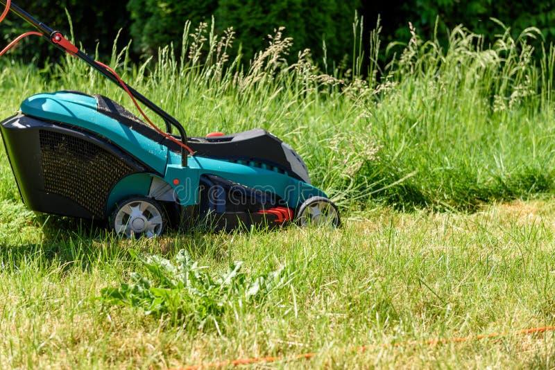 Κλείστε επάνω σε μια ηλεκτρο τέμνουσα χλόη χορτοκοπτών στον κήπο στοκ εικόνες με δικαίωμα ελεύθερης χρήσης