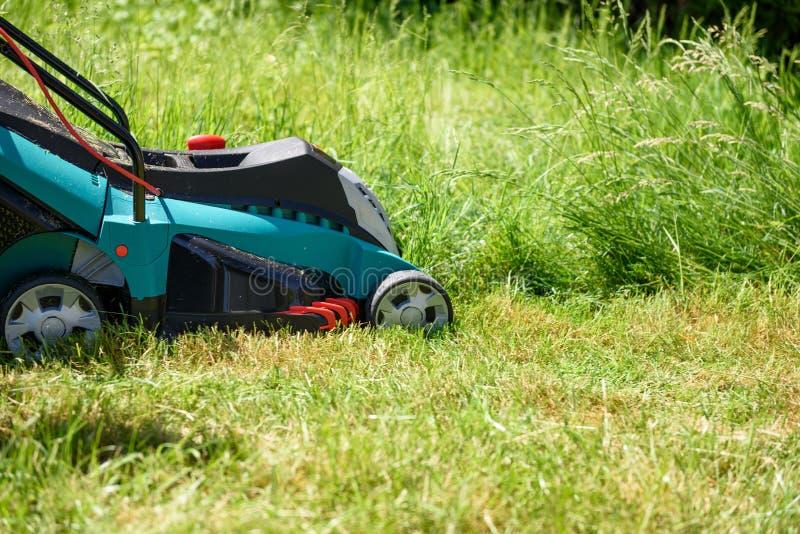 Κλείστε επάνω σε μια ηλεκτρο τέμνουσα χλόη χορτοκοπτών στον κήπο στοκ εικόνα με δικαίωμα ελεύθερης χρήσης