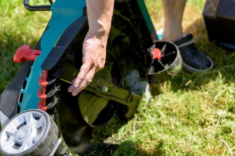Κλείστε επάνω στο άτομο που καθαρίζει έναν ηλεκτρο χορτοκόπτη στοκ φωτογραφία με δικαίωμα ελεύθερης χρήσης