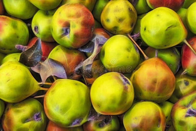 Κλείστε επάνω τα πράσινα αχλάδια στη στάση αγοράς στοκ φωτογραφία