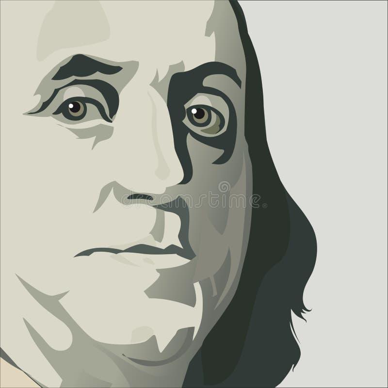 Κλείστε επάνω την άποψη του Ben Franklin διανυσματική απεικόνιση