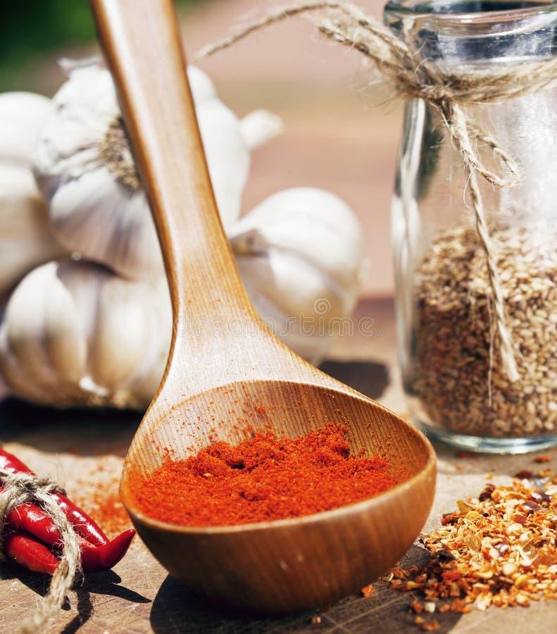 Κλείστε επάνω την εικόνα πολλή κόκκινη - καυτά πιπέρια τσίλι και πικάντικος, γ στοκ φωτογραφία
