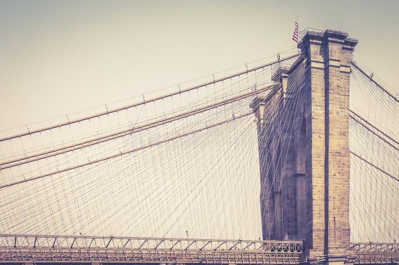 Κλείστε επάνω την εικόνα της γέφυρας του Μπρούκλιν που ενώνει τους δήμους του Μανχάταν και του Μπρούκλιν της Νέας Υόρκης στοκ φωτογραφία με δικαίωμα ελεύθερης χρήσης